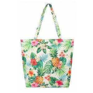 Cream Colored Canvas Tote Bag with Tropical Print